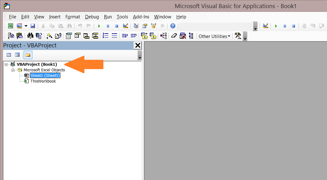 VBA Project Window.