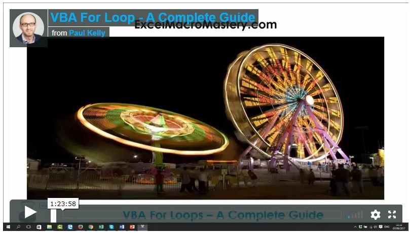 vba for loop video