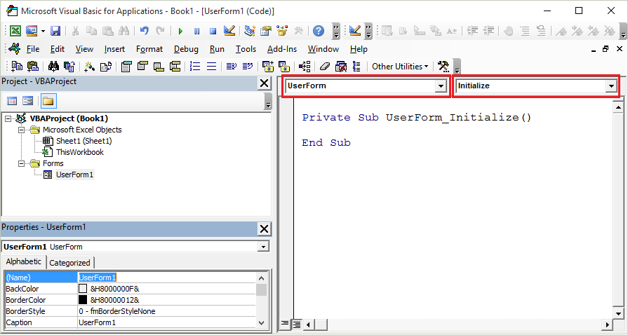VBA Userform Initialize